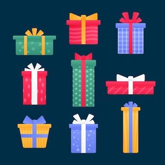 평면 디자인에 크리스마스 선물 컬렉션