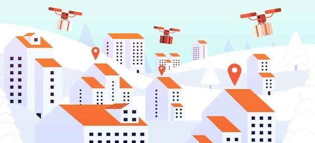 Рождественский подарок дрон доставки. бесконтактная представляет собой услугу, цифровое устройство летит с посылкой над крышами. городская логистическая векторная иллюстрация. летающий дрон с подарочной коробкой, роботизированный квадрокоптер