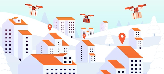 Christmas gift drone delivery. contactless presents service, digital device flying with parcel over roofs. city logistic vector illustration. flying drone with gift box, robotic quadcopter