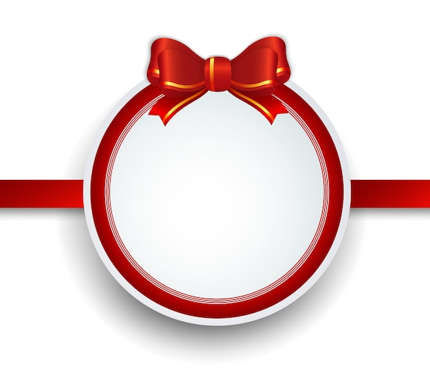 Christmas gift frame with red ribbon and bow. Premium Vector