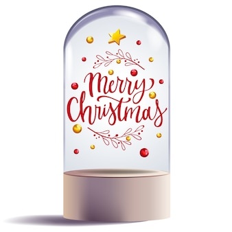 Christmas gift in glass dome design decorative
