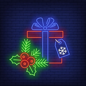 Christmas gift in neon style