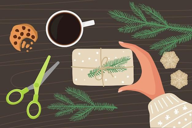 Рождественские подарочные упаковки подготовка к рождеству и новому году плоский вектор изолированные