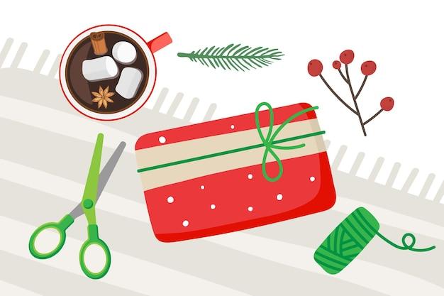 クリスマスギフト包装クリスマスと新年の準備トウヒの小枝はさみベリー