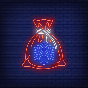 Christmas gift sack in neon style