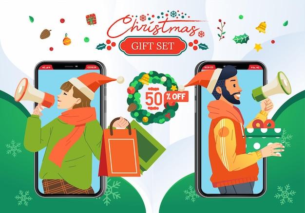 남성과 여성 일러스트와 함께 크리스마스 선물 세트 판촉 또는 할인 쿠폰은 그들의 손에 평면 그림에서 마이크와 선물을 가져옵니다.