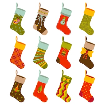 Christmas gift socks set with different holiday elements.