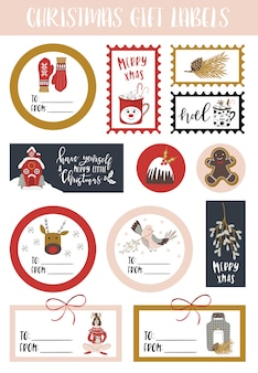 Christmas gift sticker sheet.