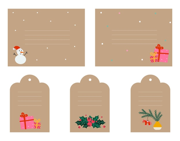 Christmas gift tag set in doodle style. simple kraft paper design label with snowman, mistletoe, christmas toy, gift boxes. hand-drawn vector illustration isolated on white.