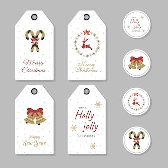 크리스마스 선물 태그 복고 스타일을 설정합니다. 새해 라벨 및 스티커.