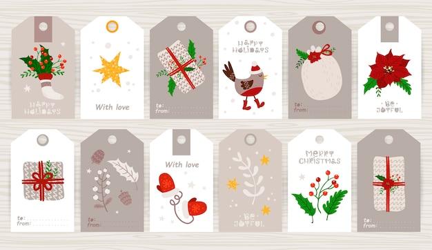Рождественский подарочный ярлык с милой иллюстрацией и праздничными пожеланиями