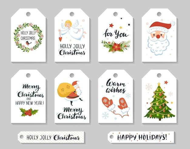 かわいい要素のクリスマスプレゼントタグ。手描きのベクトル図です。