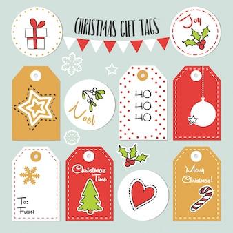 Новогодние ярлыки с зимними и рождественскими иллюстрациями