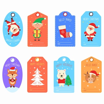 Christmas gift tags with winter animals characters cards merry christmas happy new year label