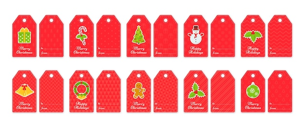 Christmas gift tags. xmas and new year cards for presents. vector illustration.