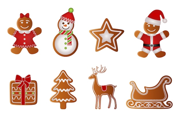 Christmas gift, tree, reindeer, sled, girl, snowman, star and santa claus gingerbread