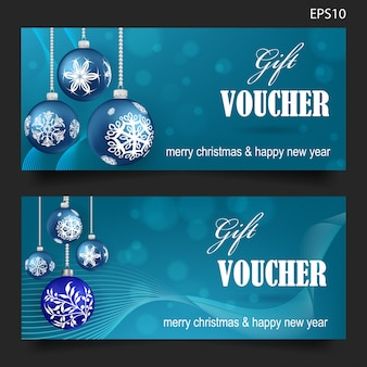 Christmas gift voucher on blue background