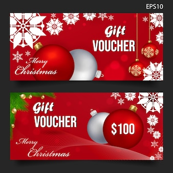 Christmas gift voucher on red background
