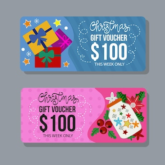 Christmas gift voucher template with flat box gift