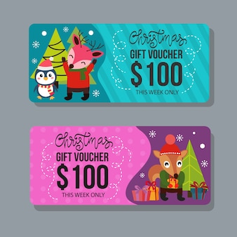 Christmas gift voucher template with happy characters