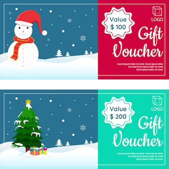Christmas gift vouchers with happy snowman, xmas tree, and gift boxes.