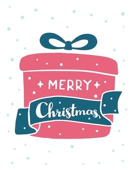 Рождественский подарок с текстом счастливого рождества и снега