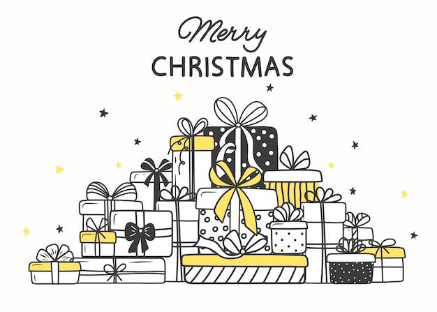 크리스마스 선물. 낙서 스타일의 휴가 상자 산.