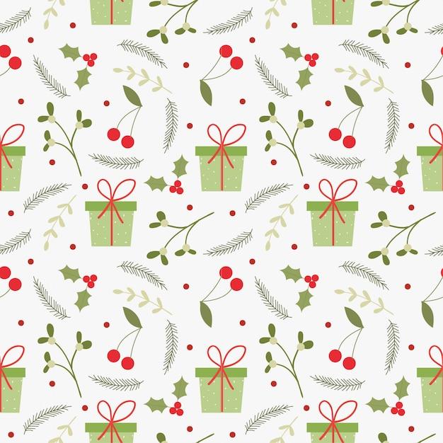 クリスマスプレゼントと要素のシームレスパターン