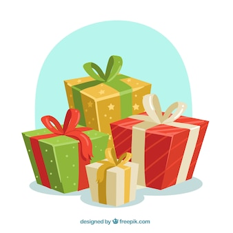 Christmas gifts background Free Vector
