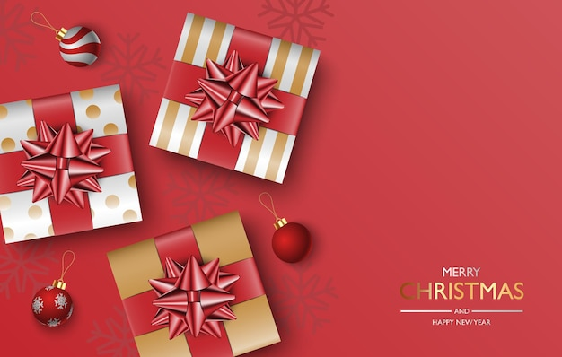 Christmas gifts box background, christmas poster, greeting card