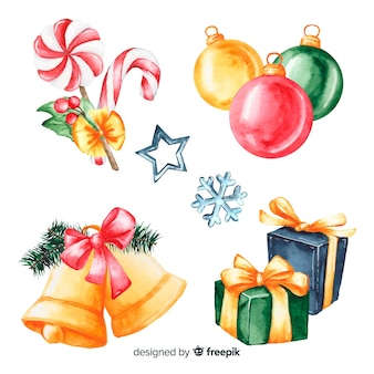 Christmas gifts and decoration in watercolour design