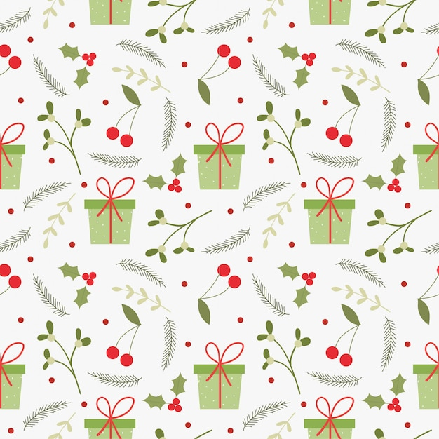 Christmas gifts and elements seamless pattern