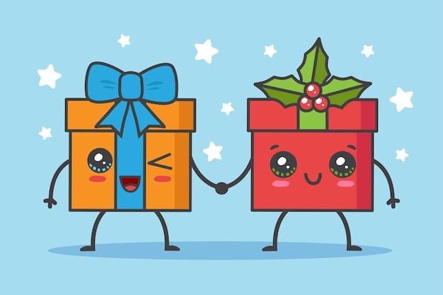 블루에 고립 된 손을 잡고 크리스마스 선물
