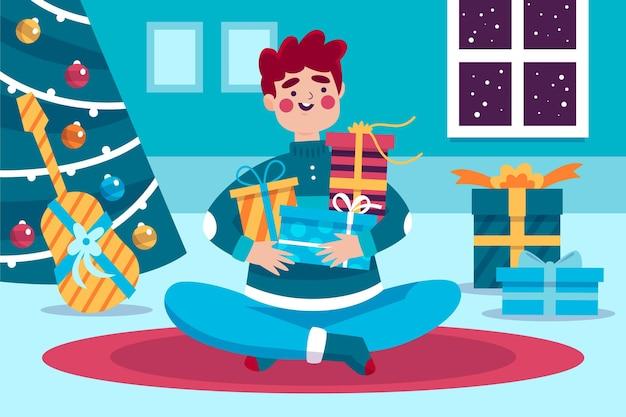 Illustrazione di regali di natale con l'uomo