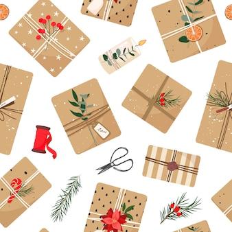 Новогодние подарки в крафт-бумаге эко-декор эвкалипт и ель