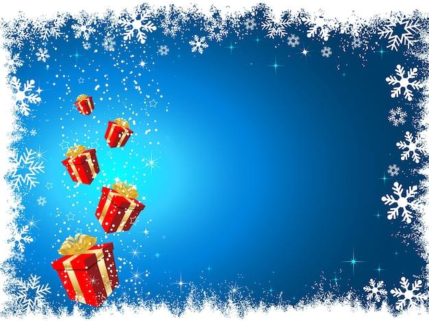 雪の背景にクリスマスプレゼント