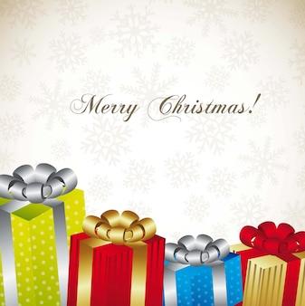 Рождественские подарки на фоне снежинок на белом фоне