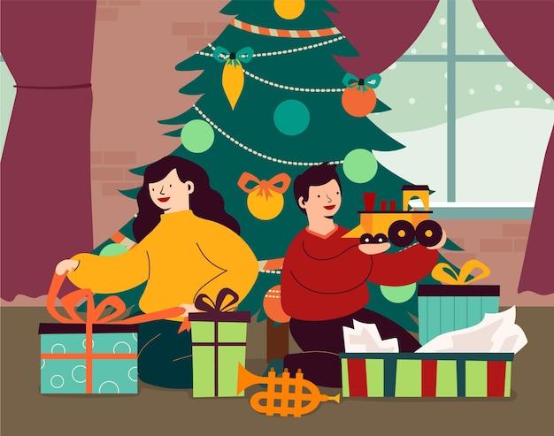 Рождественские подарки сцены иллюстрации