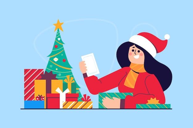 Illustrazione di scena di regali di natale