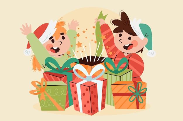 Christmas gifts scene