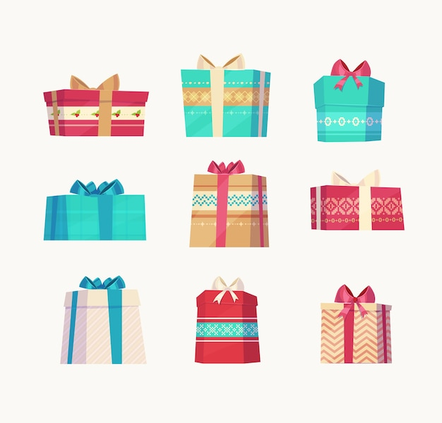 Christmas gifts set  on white background. christmas card poster banner.