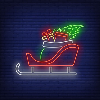 Christmas gifts in sleigh in neon style