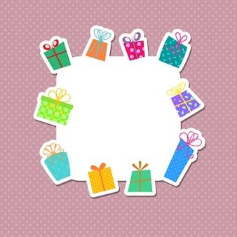 빈티지 스타일의 크리스마스 선물 스티커