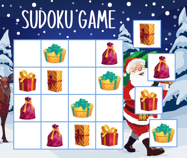 Christmas gifts sudoku game or puzzle template. children education mind game or logic riddle with santa claus cartoon character, xmas tree and present boxes with ribbons, educational activity