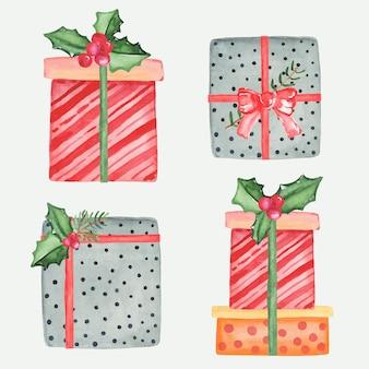 クリスマスプレゼント水彩ベクトルセット