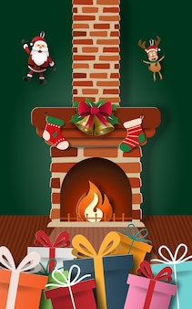 Christmas gifts with fireplace in home