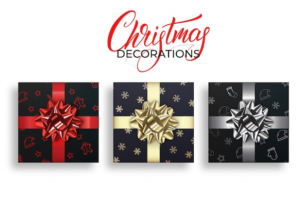 Christmas gifts with shiny realistic bows. winter holidays decorations set