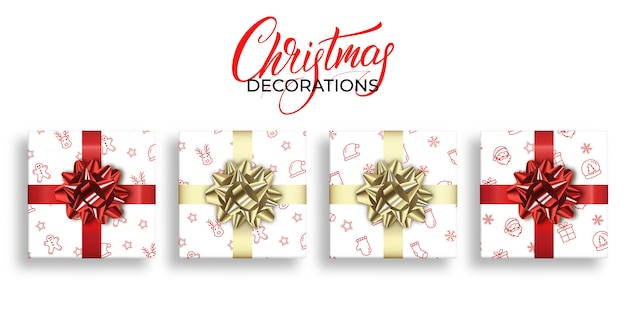 Christmas gifts with xmas patterns and shiny realistic bows decorations