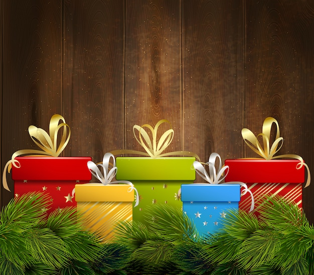 Christmas gifts wooden background