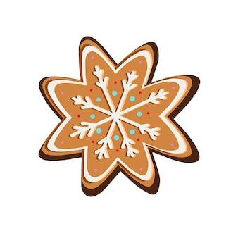 Рождественское имбирное печенье в снежинках. векторная иллюстрация